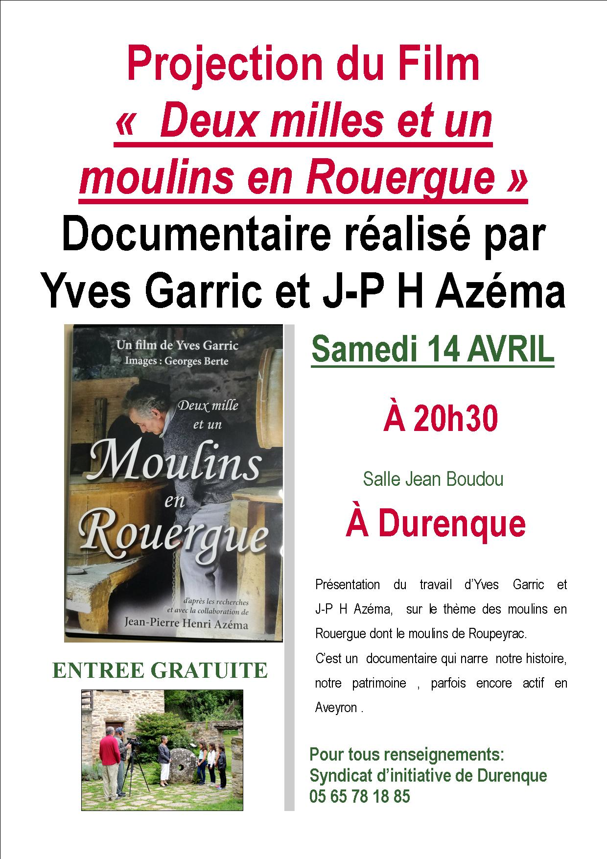 """Projection du Film Documentaire """" Deux Milles et un Moulins en Rouergue"""""""